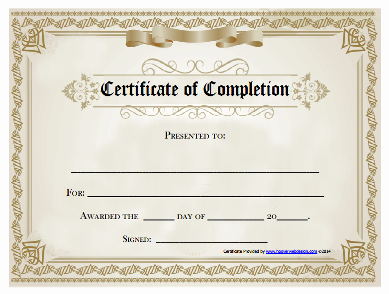 18 Free Certificate Of Pletion Templates