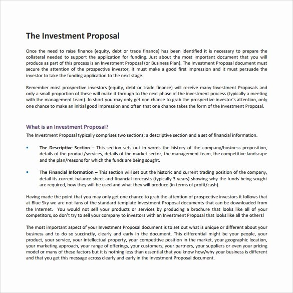18 Investment Proposal Samples
