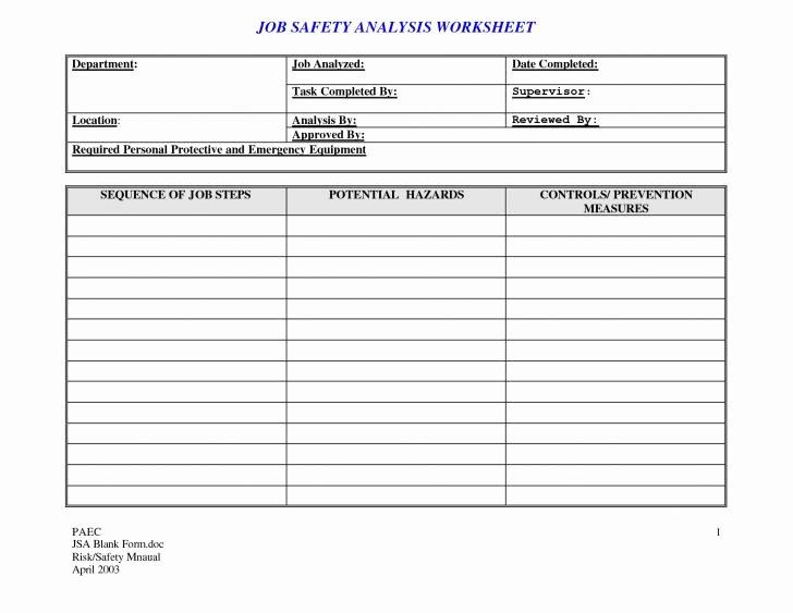 18 Jsa Template Job Safety Analysis Template Ins