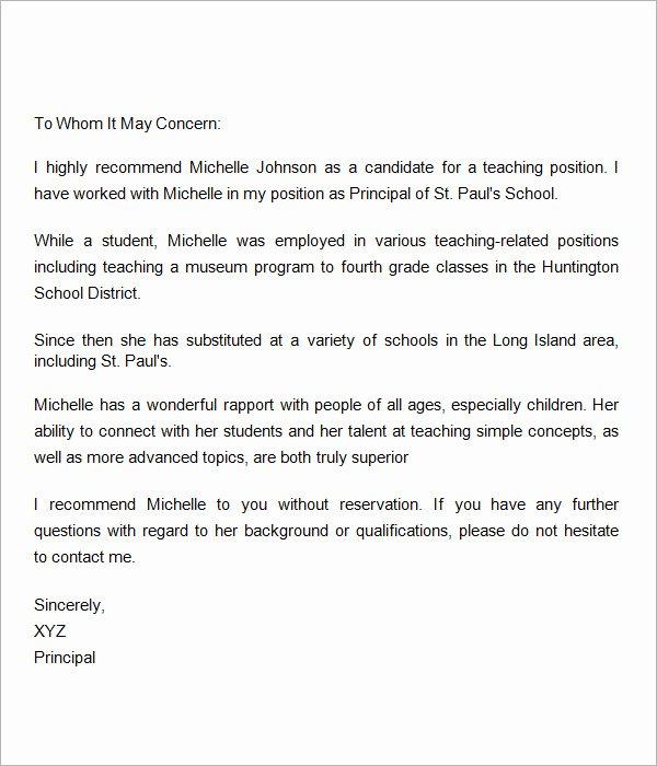18 Letter Of Re Mendation for Teacher Samples – Pdf