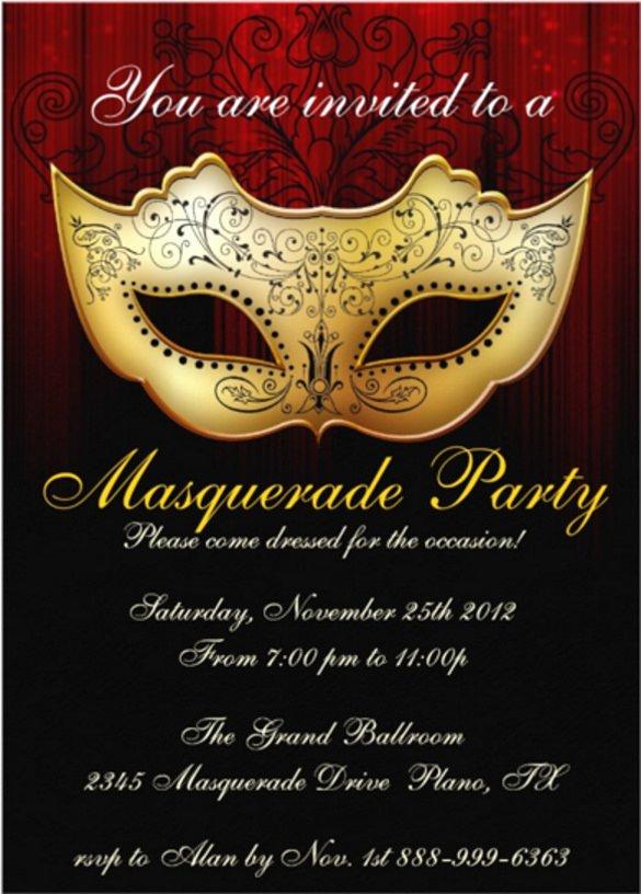 18 Masquerade Invitation Templates – Free Sample Example