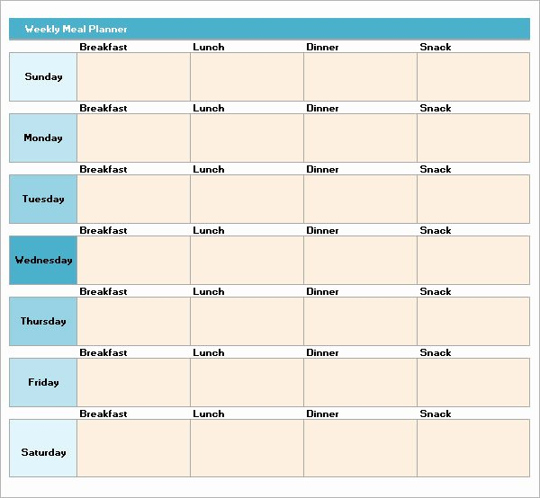 18 Meal Planning Templates – Pdf Excel Word