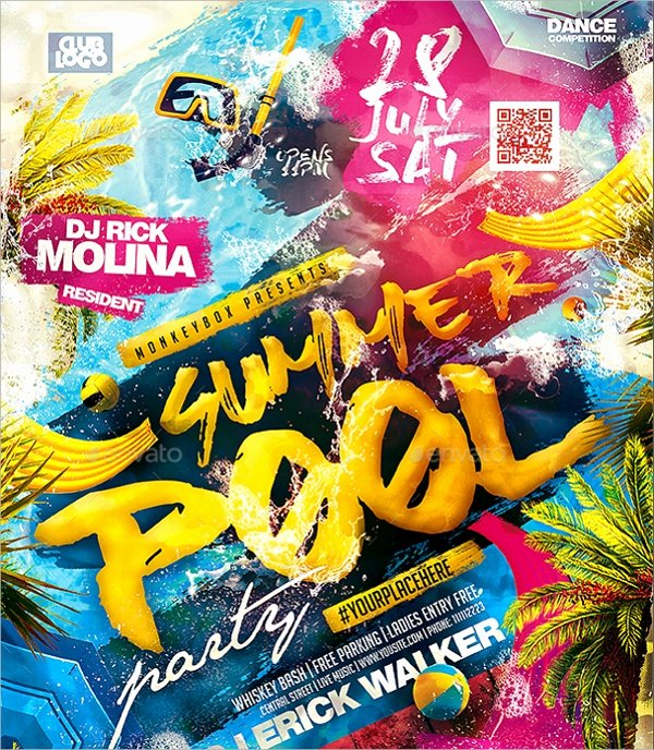 18 Pool Party Flyer Templates