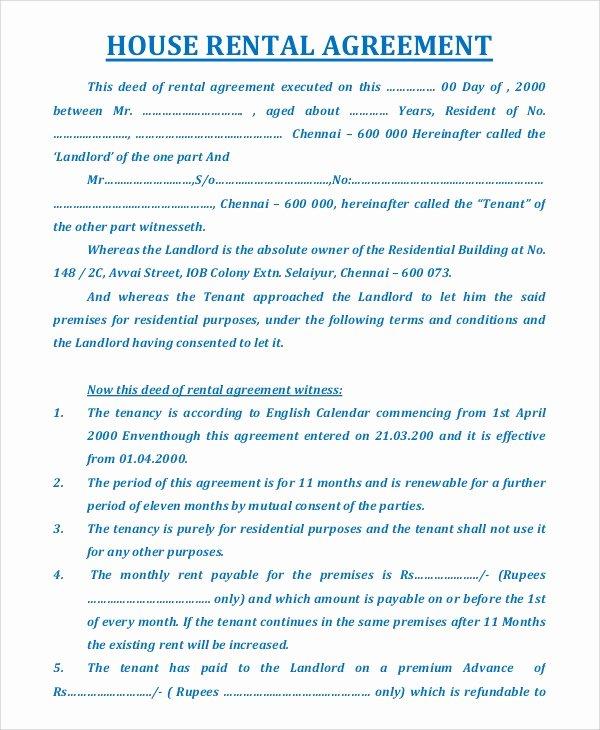 18 Sample House Rental Agreements