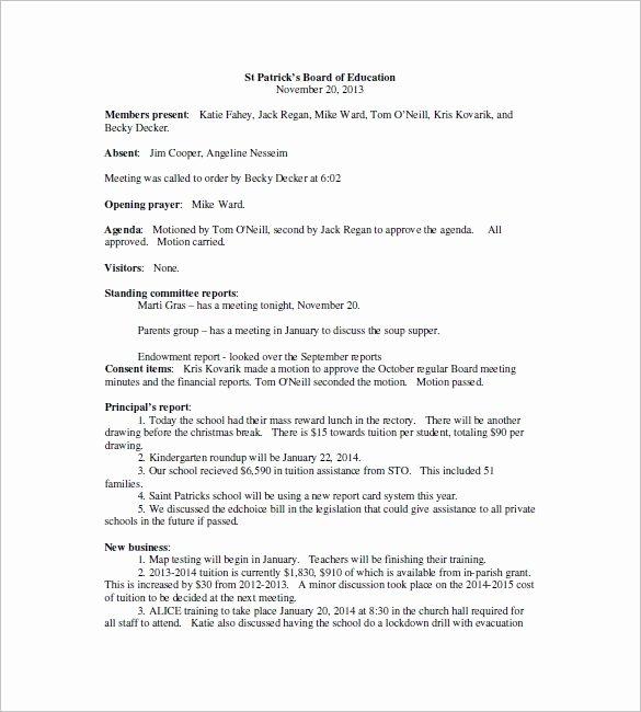 18 School Meeting Minutes Templates Pdf Doc