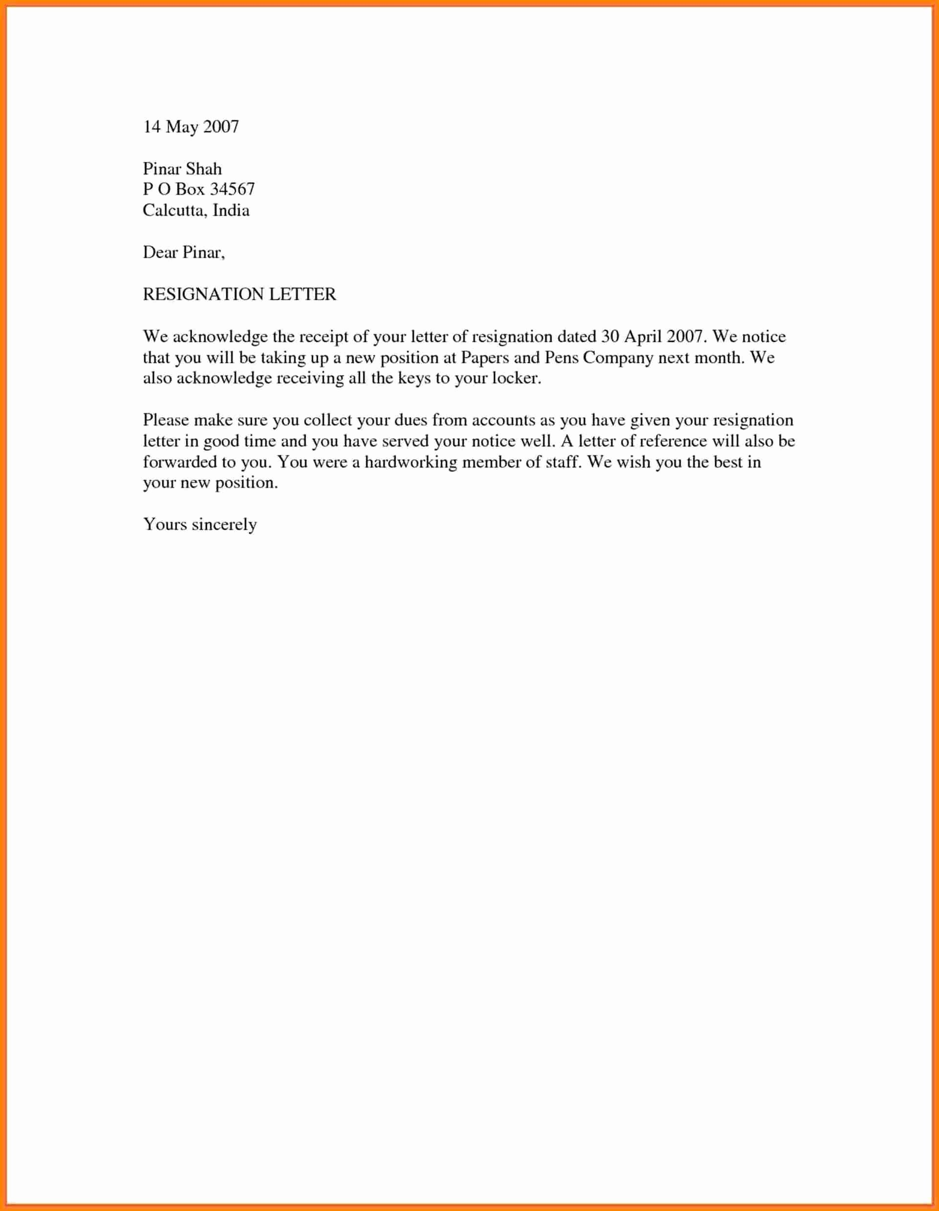 18 Simple Resignation Letter Sample