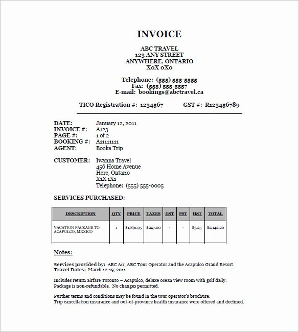 18 Travel Invoice Templates Pdf Doc Excel