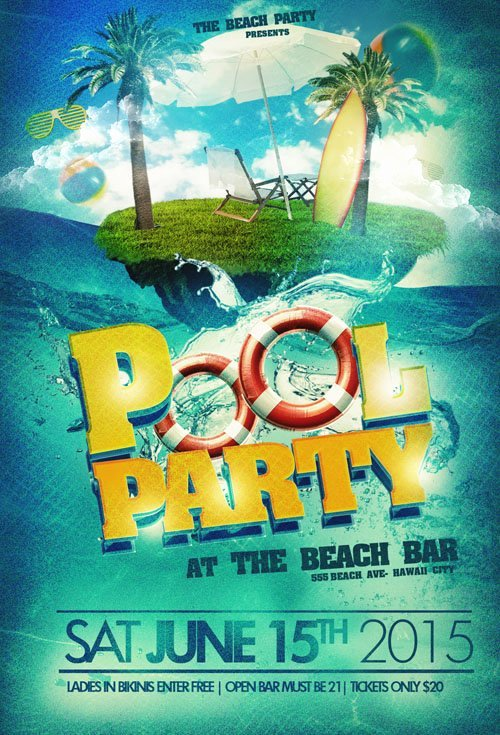 18 Water Psd Party Flyers Pool Party Flyer