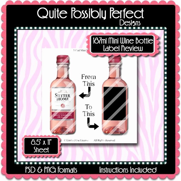 187ml Mini Wine Bottle Label Preview Template Set Instant