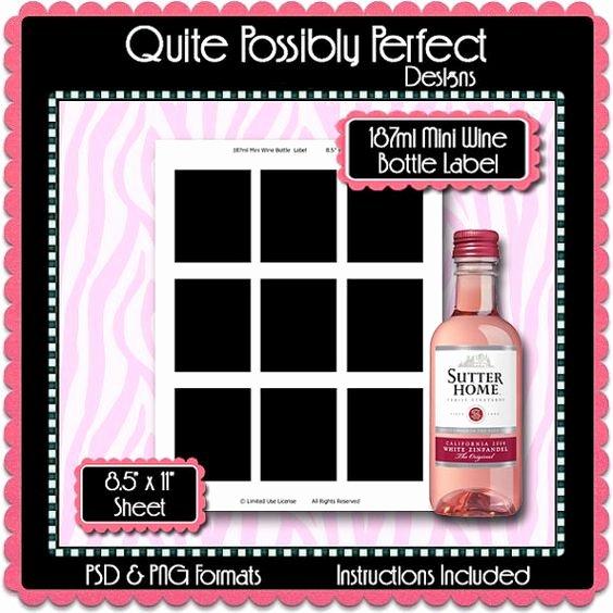 187ml Mini Wine Bottle Label Template by