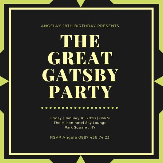 Great Gatsby Invitation Templates Latter Example Template