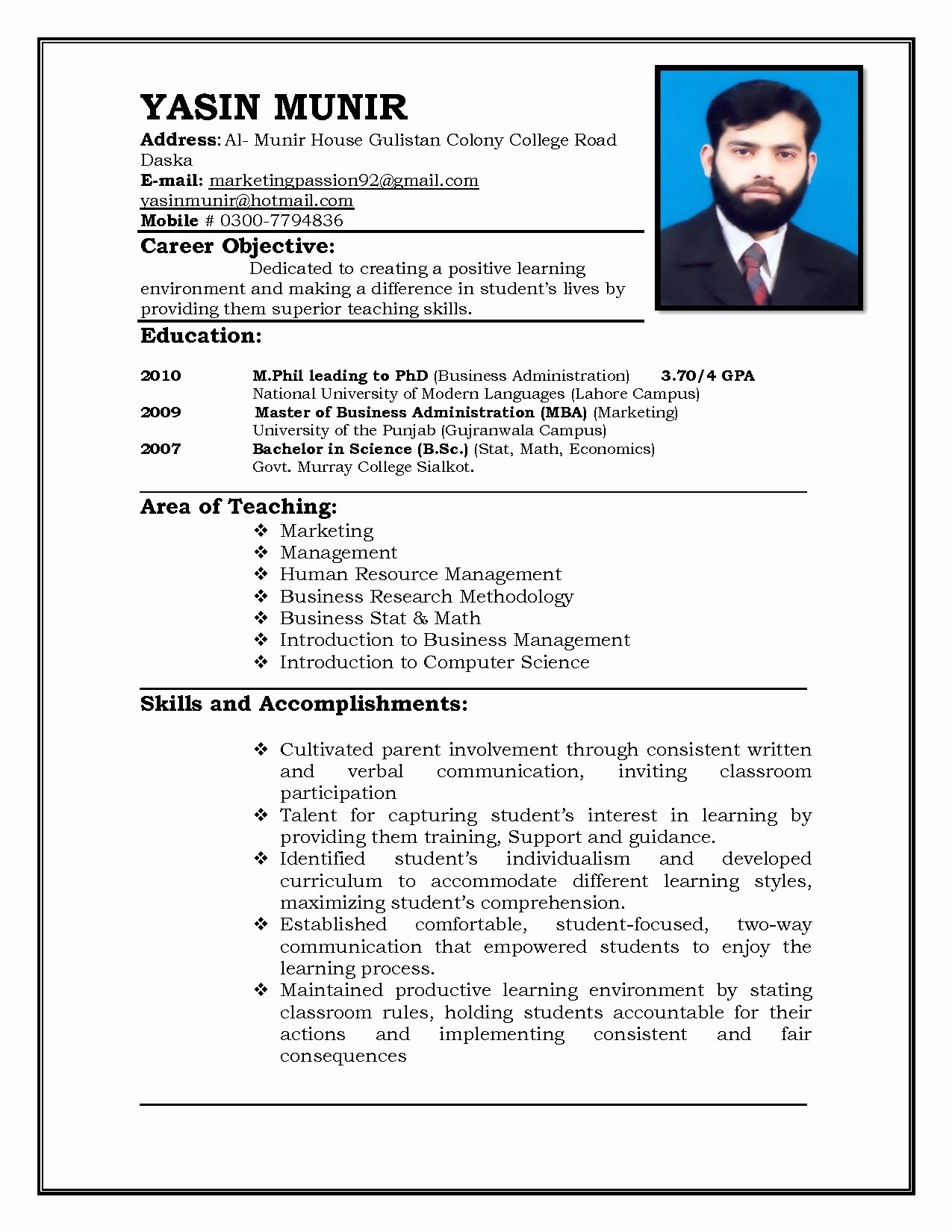 19 Cv format for Teacher Job