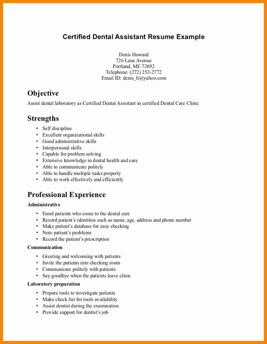 Objective Sample Dental Assistant Resume Examples Format