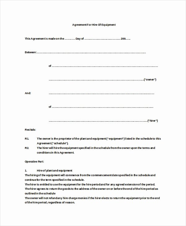 19 Equipment Rental Agreement Templates Doc Pdf