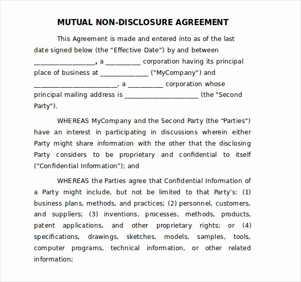 word non disclosure agreement