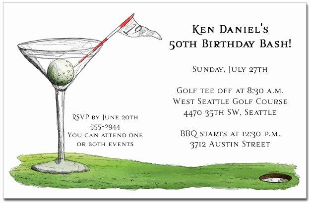 19th Hole Martini Party Invitations Golf Invitations