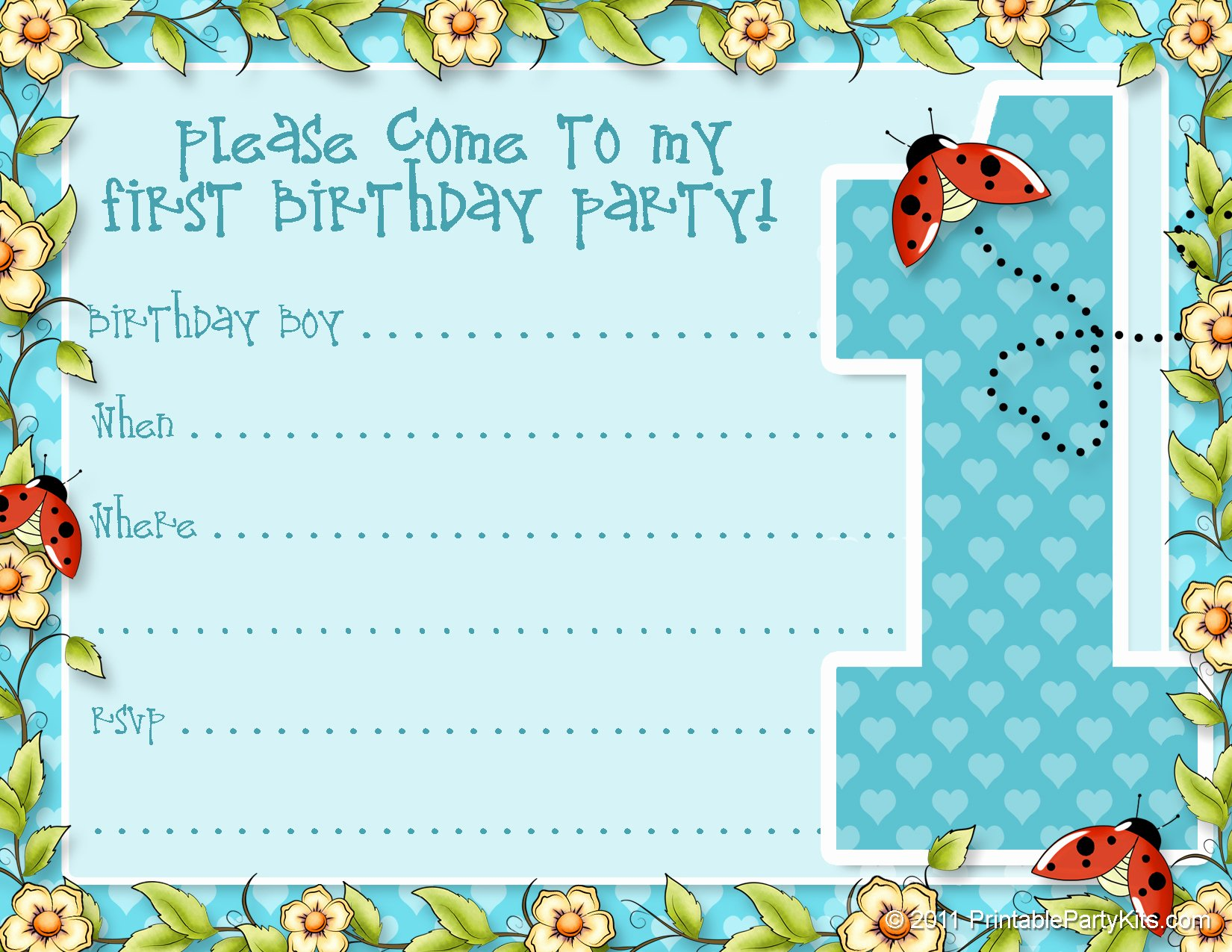 1st Birthday Invitation Template Free Printable – Latter