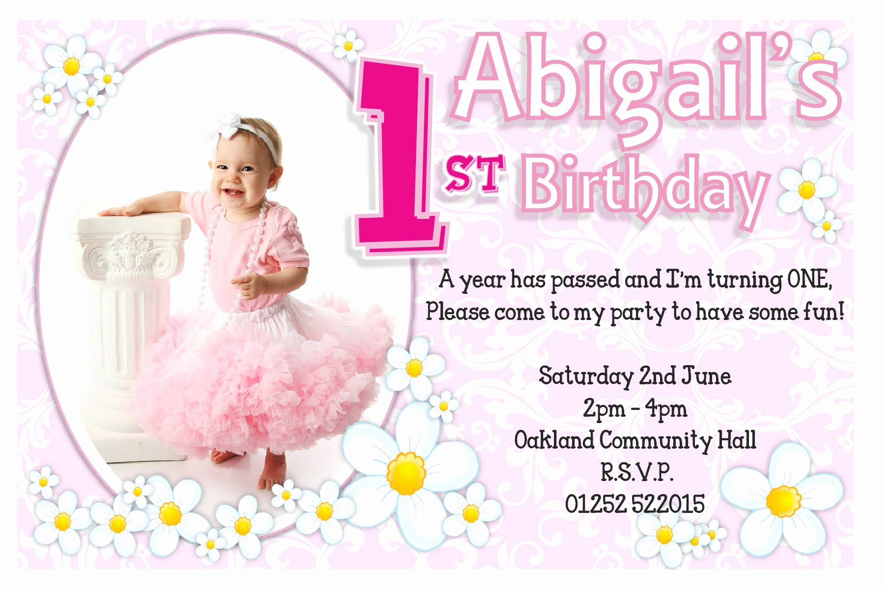 1st Birthday Invitations Girl Free Template 1st Birthday
