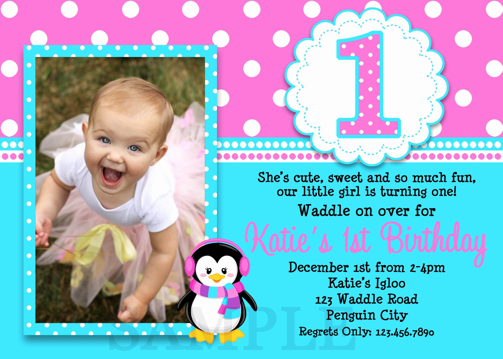 1st Birthday Invitations Girl Free Template Baby Girl S