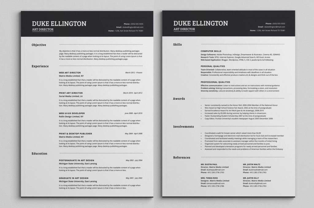 2 Page Resume Template Best Resume Collection