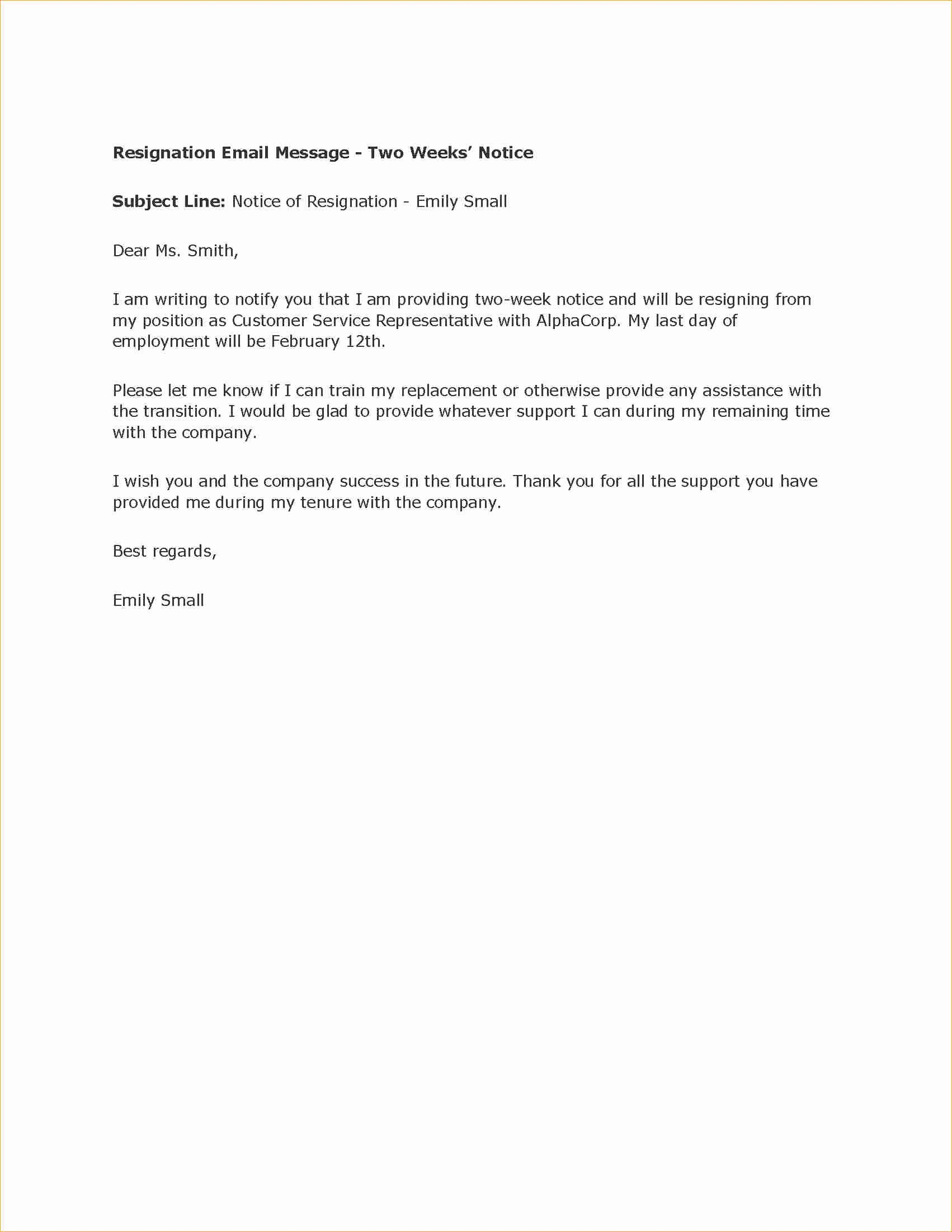 2 Week Notice Letter to Employer Business Proposal