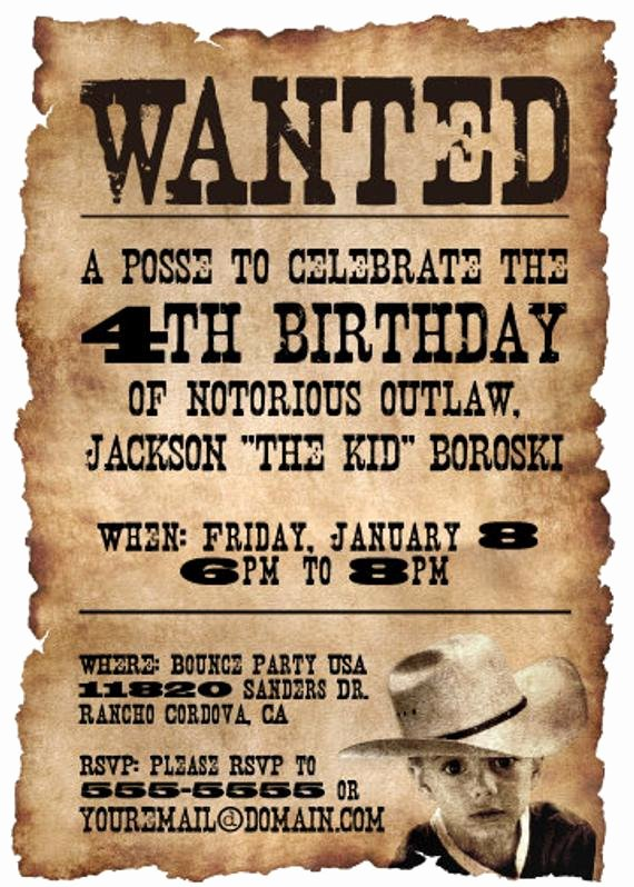 20 5x7 Wanted Poster Western themed Birthday Party by