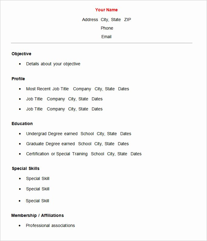 20 Basic Resume Template Free – Diocesisdemonteria