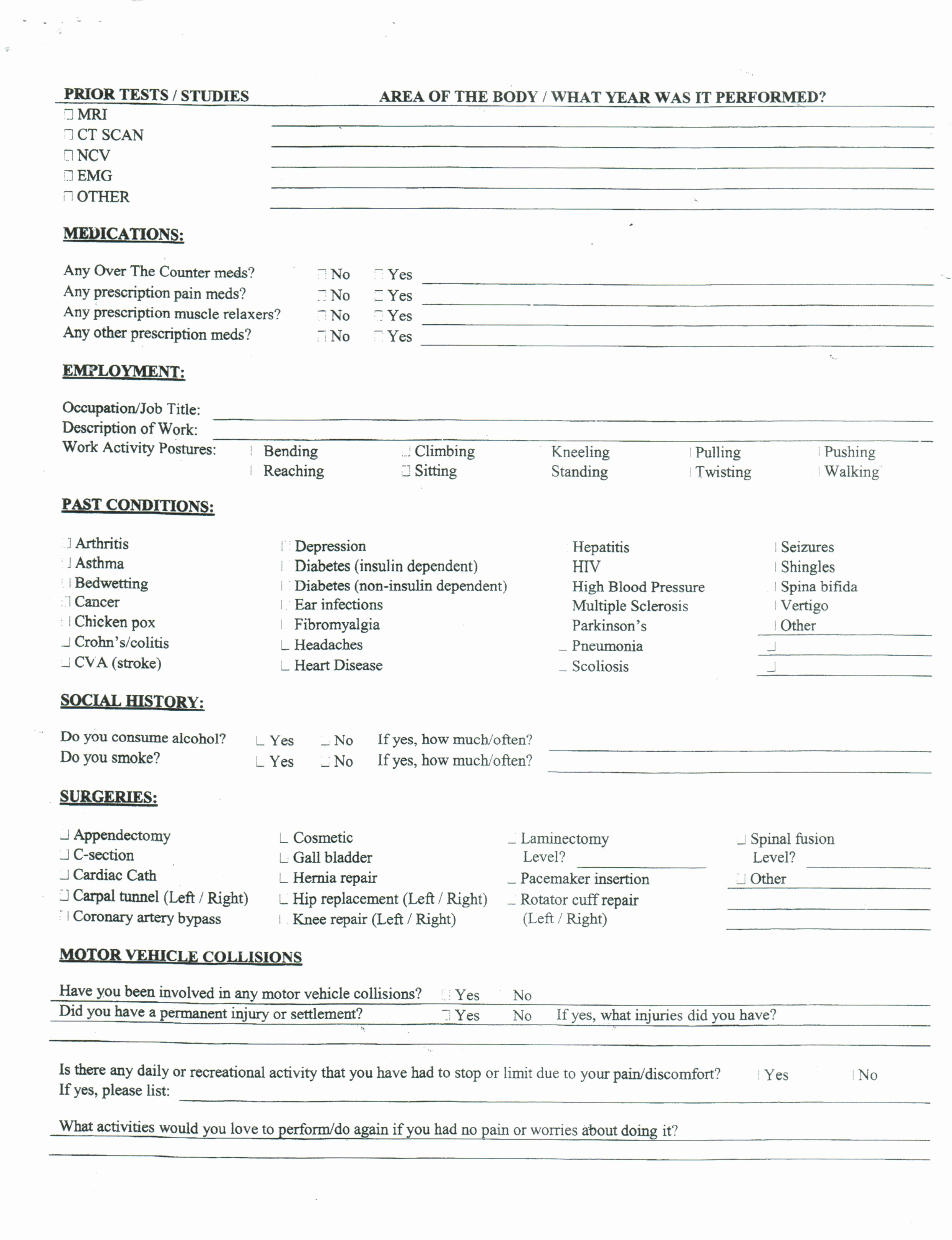 20 Beautiful Chiropractic Intake forms Charityguardfo
