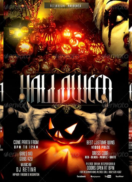 20 Beautiful Halloween Party Flyer Templates
