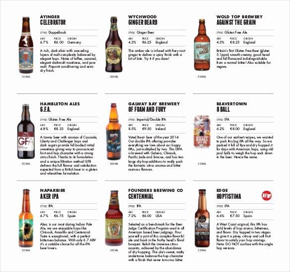 20 Beer Menu Templates – Free Sample Example format