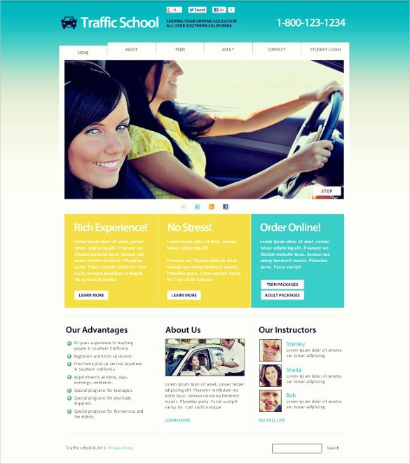 best driving school website templates