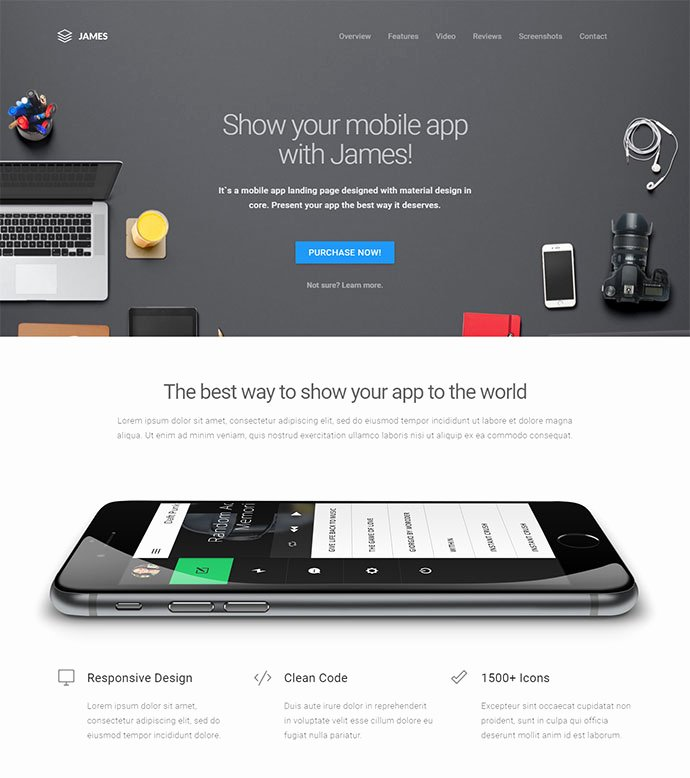 20 Best HTML Mobile App Landing Page Templates