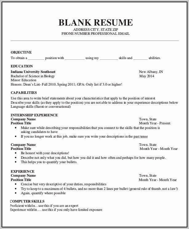 20 Blank Resume Template Download – Diocesisdemonteria