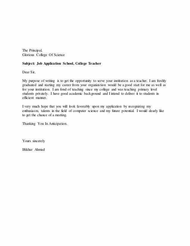 20 Elegant Letter for Teacher Job Application