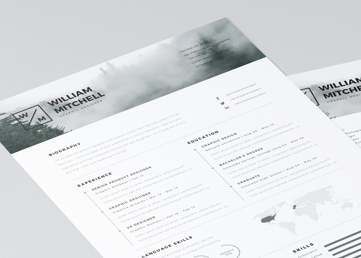 20 Free Editable Cv Resume Templates for Ps & Ai