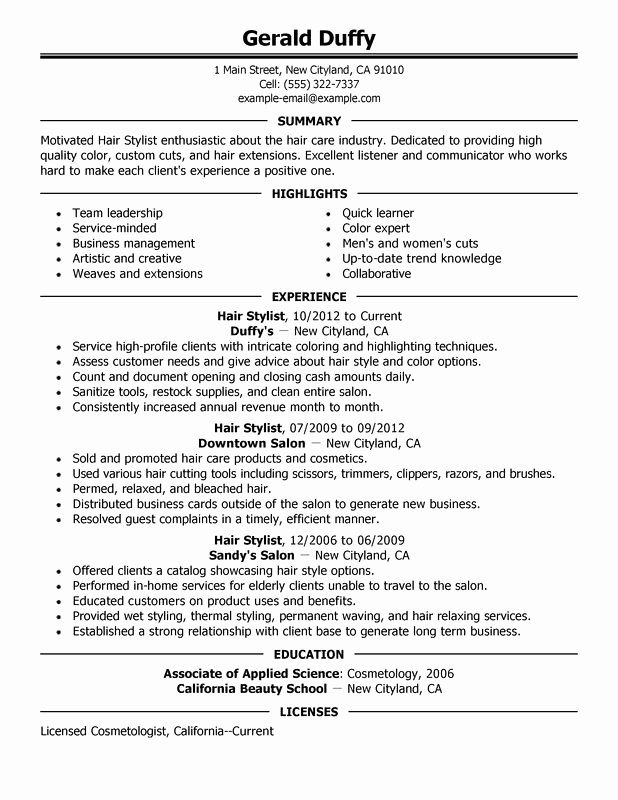 free hair stylist resume templates