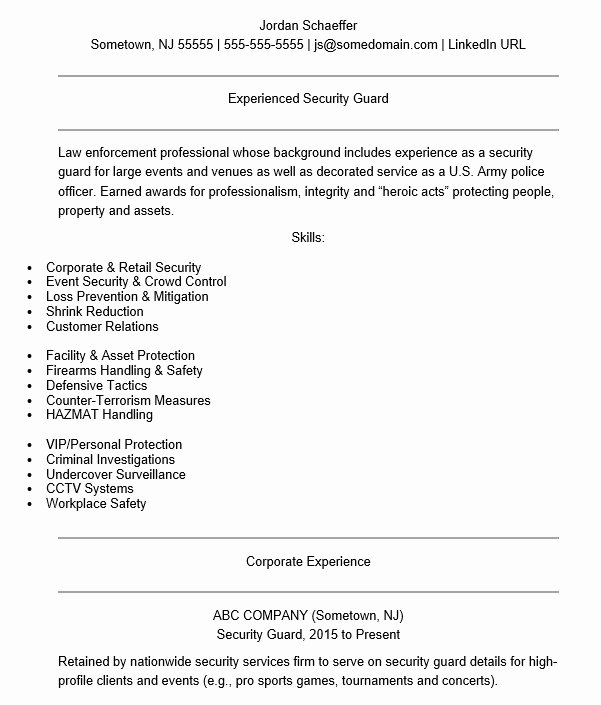 20 Free Security Guard Resume Samples Sample Resumes
