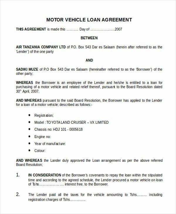 20 Loan Agreement formats
