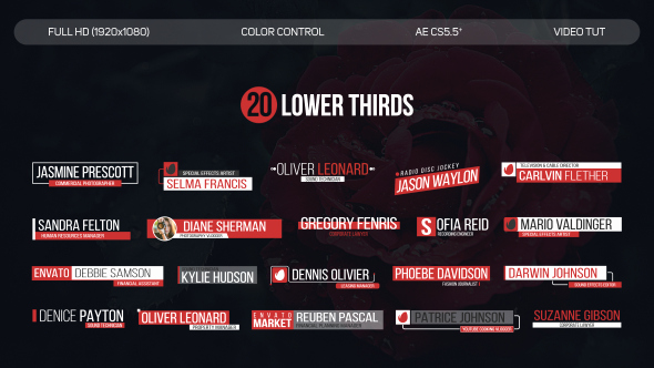 20 Lower Thirds Corporate after Effects Templates