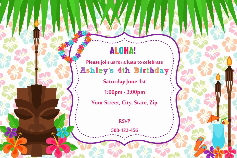 luau birthday invitations