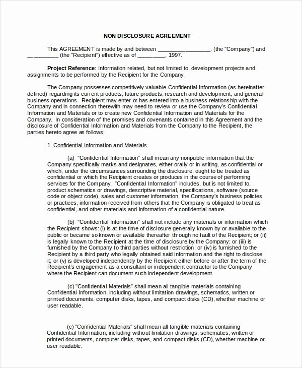 20 Non Disclosure Agreement Templates Doc Pdf