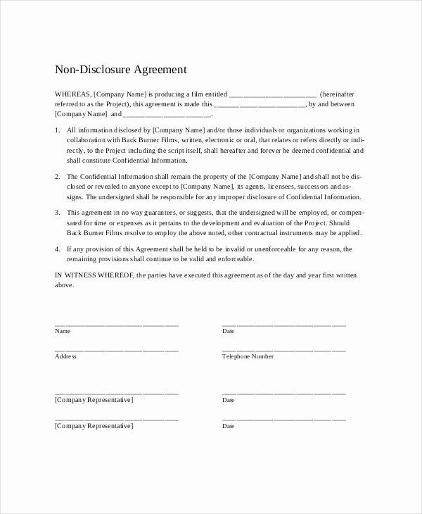 20 Non Disclosure Agreement Templates Doc Pdf