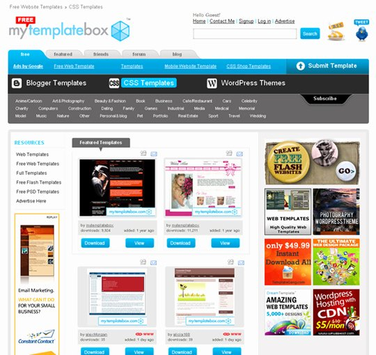 20 Places to Download Free Website Templates and Free