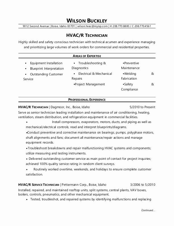 20 Sample Resume for Hvac Technician – Diocesisdemonteria