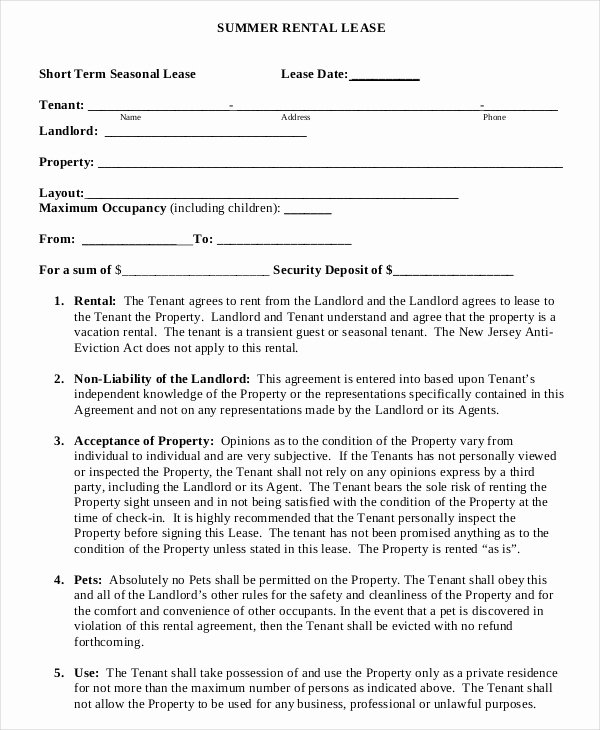20 Short Term Rental Agreement Templates Free Sample