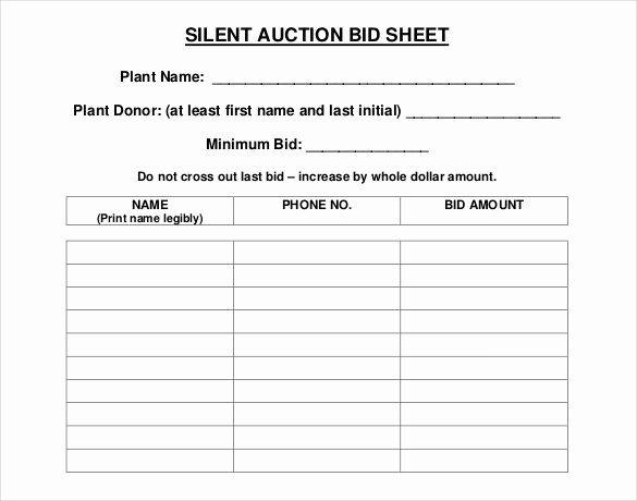 20 Silent Auction Bid Sheet Templates & Samples Doc