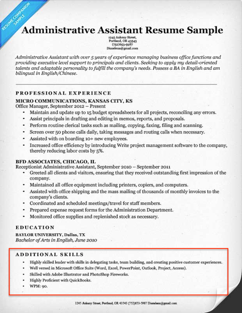 Sample Resume For Administrative Assistant In 2016 Best Store Example 20 Skills Resumes Examples Included