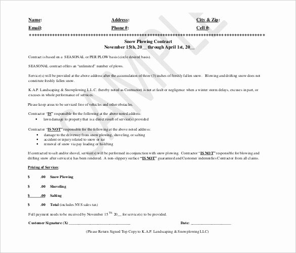 20 Snow Plowing Contract Templates Google Docs Pdf