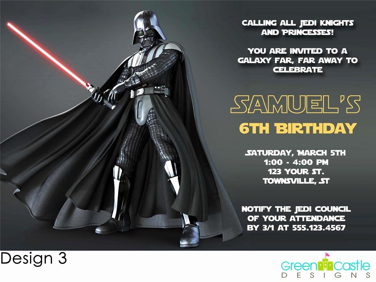 20 Star Wars Invitations Darth Vader Custom