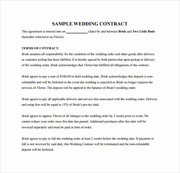 20 Wedding Contract Templates to Download for Free